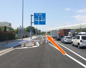 千葉西警察署近くの交差点は東京船橋方面に直進してください。