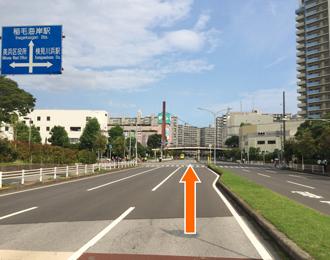 右側にデイリーストア、前に陸橋が見える交差点も直進します。